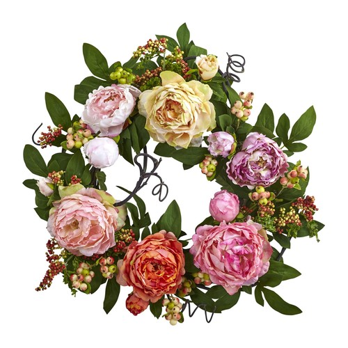 20'' Mixed Peony \u0026 Berry Wreath by Nearly Natural