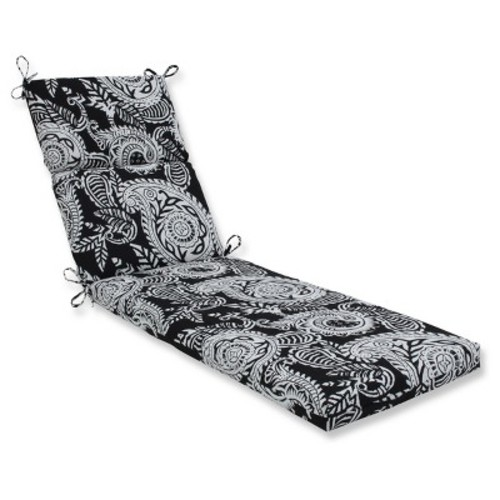 Outdoor/Indoor Addie Black Chaise Lounge Cushion - Pillow Perfect