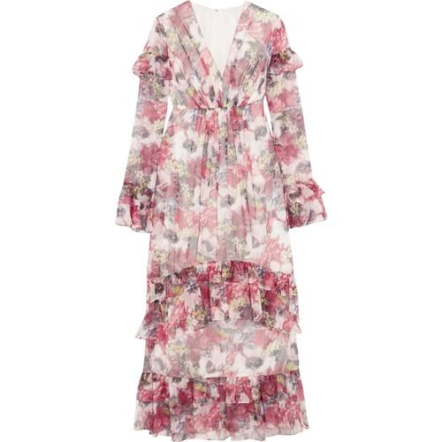 Ruffled floral-print chiffon maxi dress