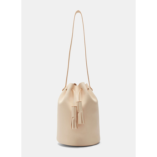 Leather Bucket Bag in Nude