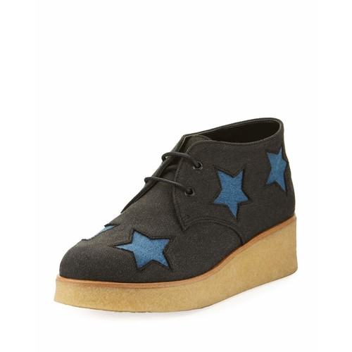STELLA MCCARTNEY Wendy Star-Patched Denim Platform Sneaker, Sizes 10T-5Y