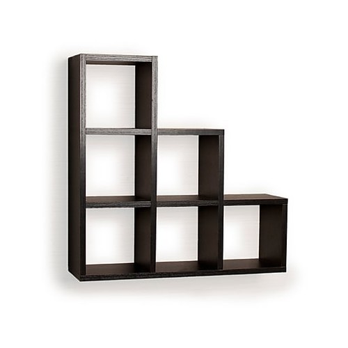 Danya B FF4813B Stepped Six Cubby Decorative Black Wall Shelf