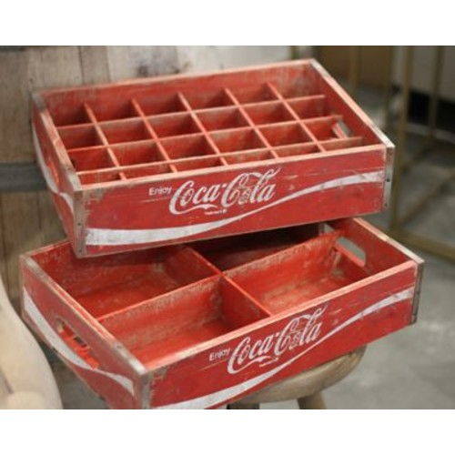 Crates & Pallet 24 Grid Divided Coca-Cola Crate; Red