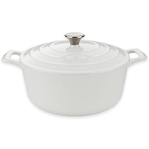 La Cuisine PRO 5 qt. Round Cast Iron Casserole in White