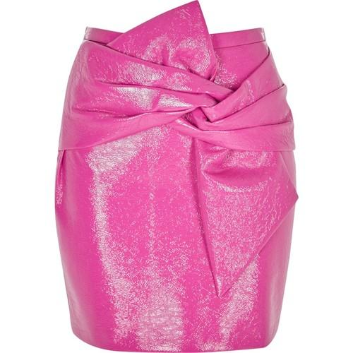 Pink bow front vinyl mini skirt