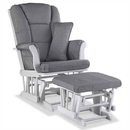Storkcraft Stork Craft Tuscany Custom Glider and Ottoman in White and Slate Gray
