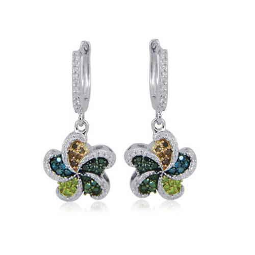 .50 ct. t.w. Multicolored Diamond Swirl Dangle Hoop Earrings in Sterling Silver