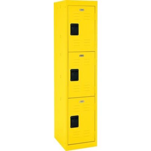 Three tier locker, recessed handle, yellow