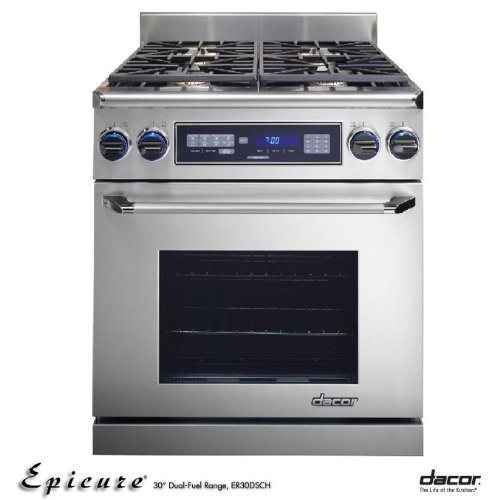 Dacor Epicure 30 In. Stainless Steel Slide-In Dual Fuel Range - ER30DSRSCHNGH