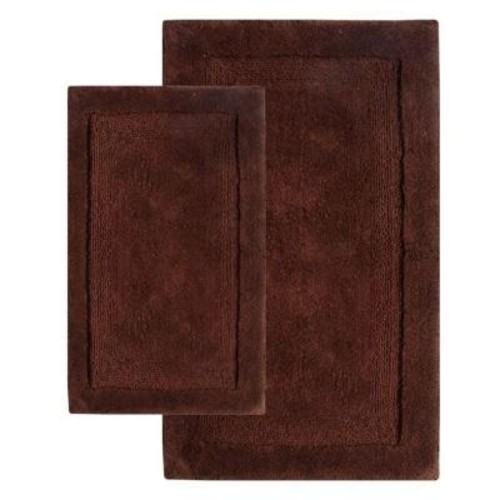 Chesapeake Merchandising 21 in. x 34 in. and 24 in. x 40 in. 2-Piece Olympia Bath Rug Set in Chocolate
