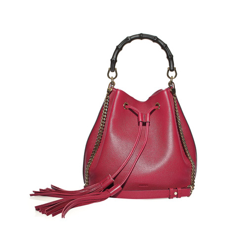 GUCCI Miss Bamboo Medium Leather Bucket Bag, Burgundy