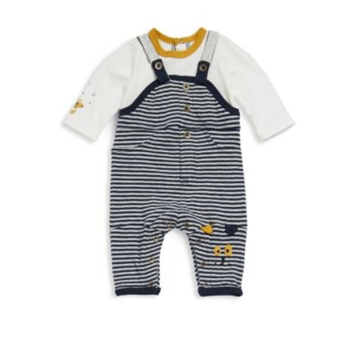 Baby's Two-Piece Cotton Long-Sleeve Top & Striped Overall Set