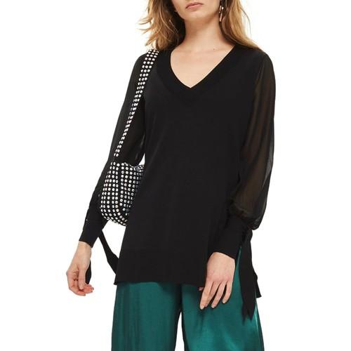 Chiffon Sleeve Longline Sweater
