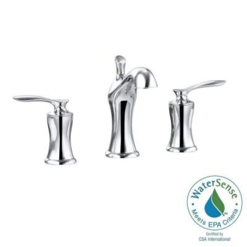 Avanity Fontaine 8 in. Widespread 2-Handle Mid-Arc Bathroom Faucet in Chrome with Drain