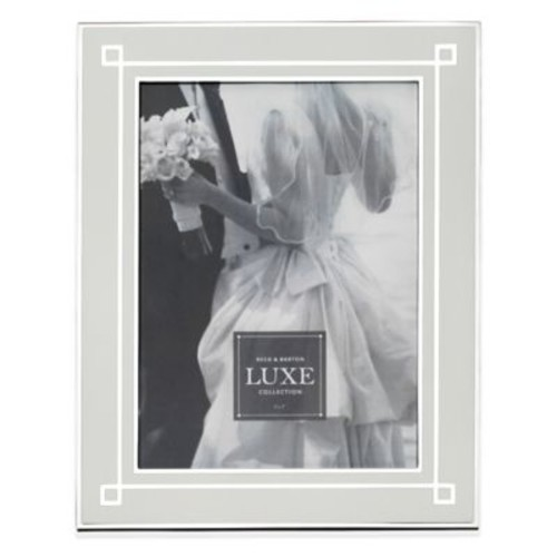 Reed & Barton Luxe Collection 5-Inch x 7-Inch Deco Picture Frame in White/Silver