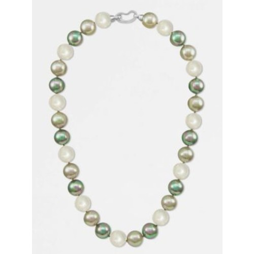 12MM Multicolor Round Pearl & Sterling Silver Strand Necklace/17