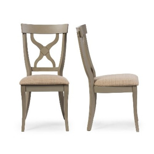 Balmoral Chic Country Cottage Antique Oak Wood & Distressed Light Gray X-Back Dining Side Chairs (Set of 2) - Baxton Studio