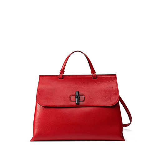 GUCCI Bamboo Daily Leather Top Handle Bag, Red