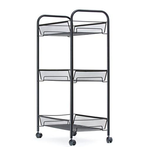 Mind Reader Roll Metal Mesh Rolling Utility Cart, 3-Shelf, Black