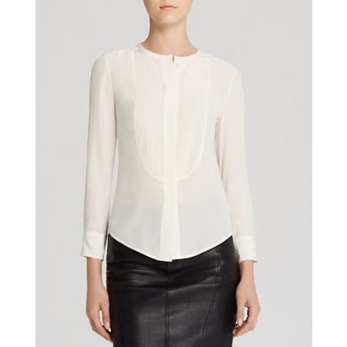 BURBERRY Brit Pintuck Bib Silk Shirt
