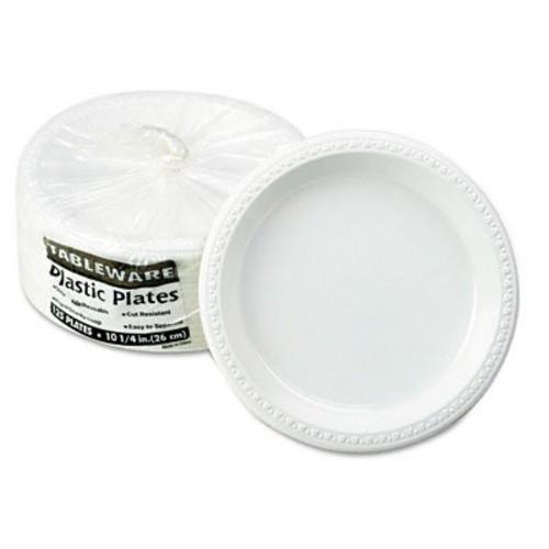 Tablemate TM10644WH Plastic Dinnerware Plates 10-1/4 in. Diameter White 125/Pack