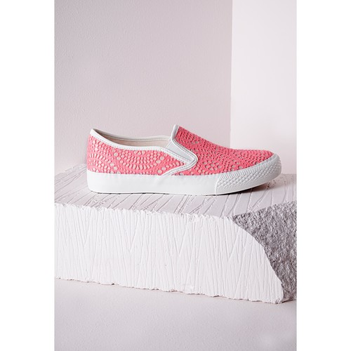 Slip On Pumps Neon Pink Lace