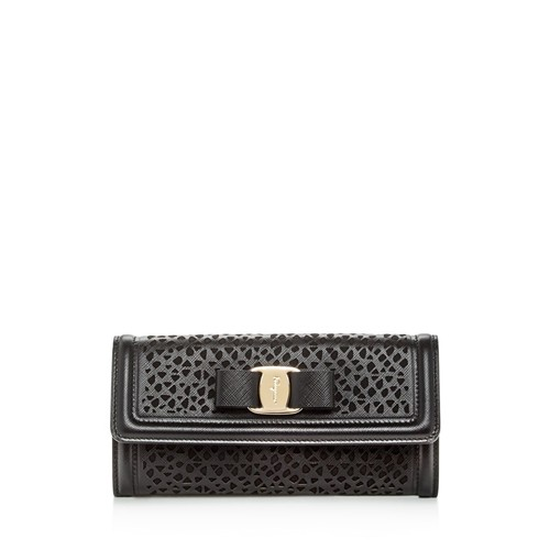 SALVATORE FERRAGAMO Miss Vara Cutout Leather Continental Wallet