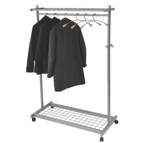 Alba Mobile Garment Rack; Chrome/Mahogany