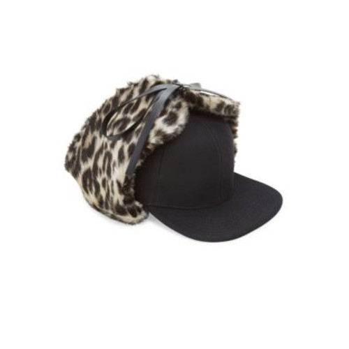 STELLA MCCARTNEY Leopard-Print Faux Fur & Wool Trapper Hat