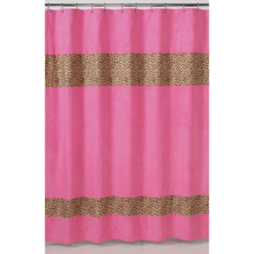 Sweet Jojo Designs Pink and Taupe Mod Elephant Shower Curtain