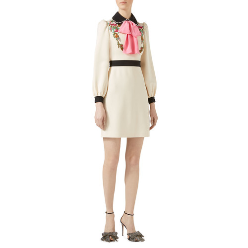 GUCCI Embroidered Jersey Shirtdress, Multi