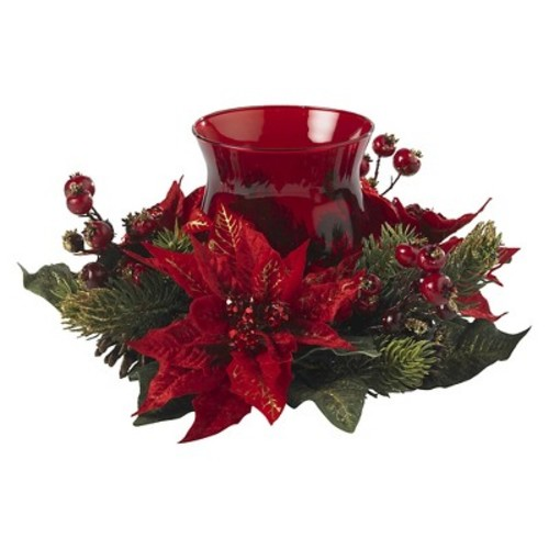 Poinsettia & Berry Candelabrum - Nearly Natural
