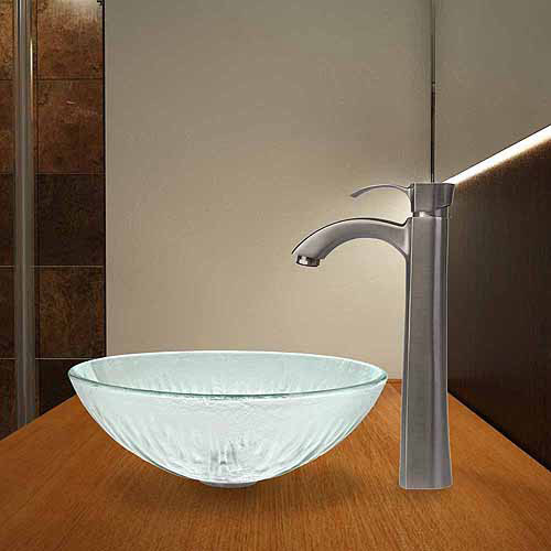 VIGO Icicles Glass Vessel Sink and Otis Faucet Set in Brushed Nickel