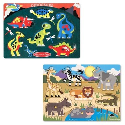 Melissa & Doug Animals Wooden Peg Puzzles Set - Safari and Dinosaurs 13pc