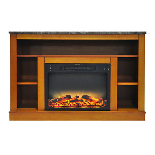 Cambridge Seville Electric Fireplace With Enhanced Log Insert And Mantel, Teak