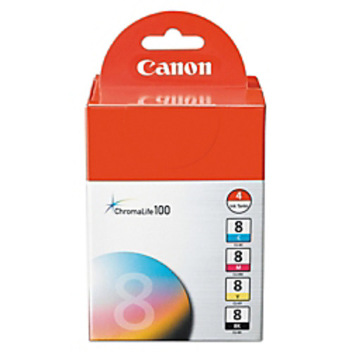 Canon CLI-8 ChromaLife 100 Black/Color Ink Cartridges (0620B010), Pack Of 4