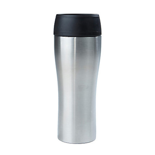 Mind Reader Stainless-Steel Double-Wall Travel Mug, 14 Oz, Silver