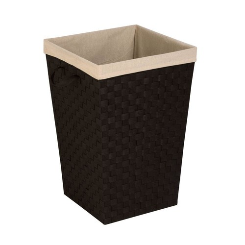 Honey-Can-Do Woven Strap Hamper with Liner in Deep Espresso