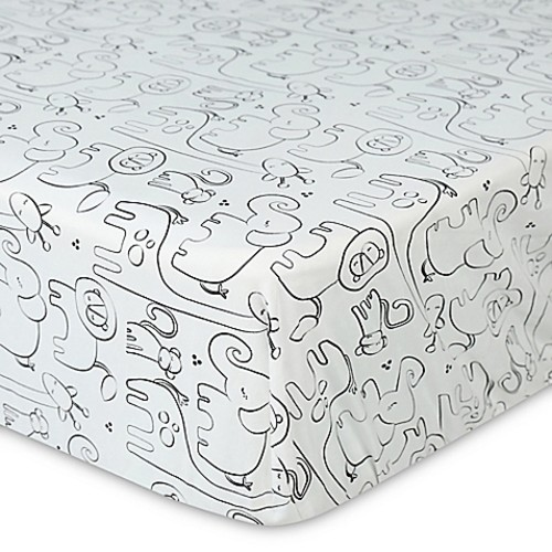 Country Home Laugh, Giggle & Smile Silhouette Jungle Fitted Crib Sheet