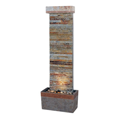 Kenroy Home #50293SLCOP Tacora Horizontal Indoor/Outdoor Floor Fountain in Natural Slate Finish with Copper Accents
