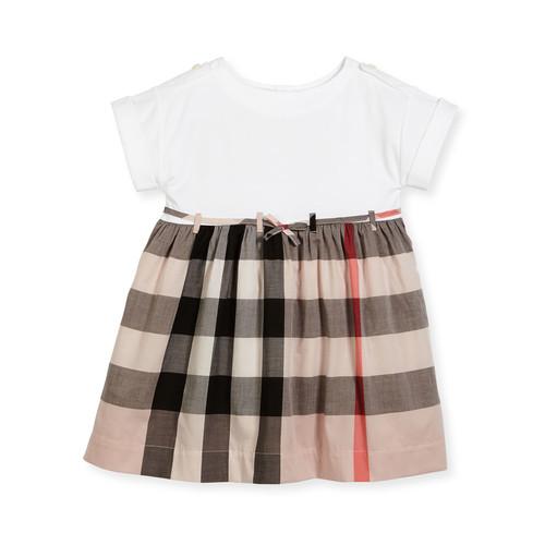 BURBERRY Rhonda Jersey & Check Poplin Dress, Size 4