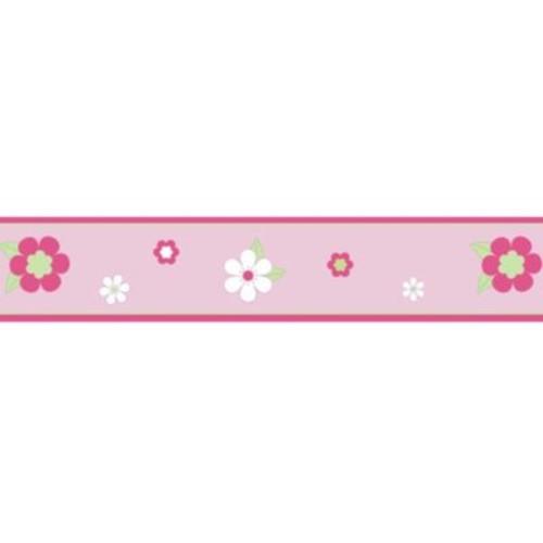 Sweet Jojo Designs Flower Wallpaper Border in Pink/Green