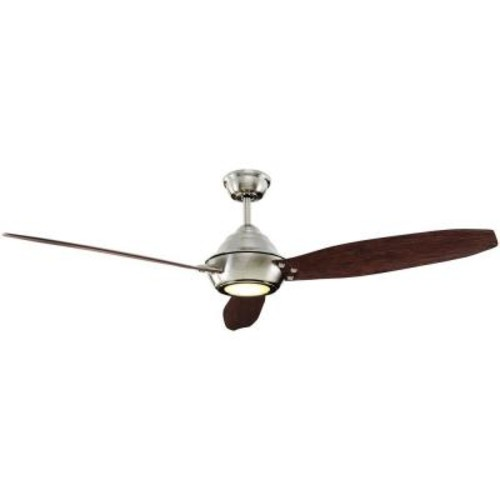 Home Decorators Collection Aero Breeze 60 in. Integrated LED Indoor/Outdoor Brushed Nickel Ceiling Fan with Light Kit and Remote Control
