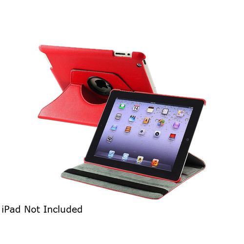 Insten 1901586 360 Rotating Swivel Folio Stand Leather Case for Apple iPad 2 / 3 / 4 / iPad with Retina display, Red