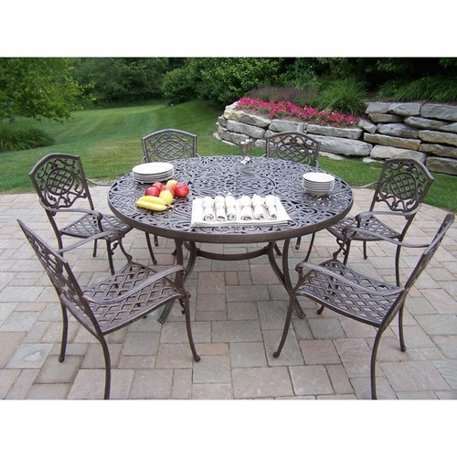 Aluminum 8-Piece Outdoor Patio Dining Set with Stainless Steel Ice Bucket