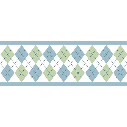 Sweet JoJo Designs Blue and Green Argyle Wall Border