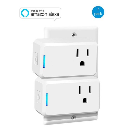 Wi-Fi Mini Smart Plug Works with Alexa for Voice Control Save Energy and Reduce Electric Bill (2-Pack)