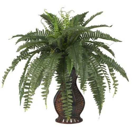Nearly Natural 6629 Boston Fern Floor Plant in Decorative Vase