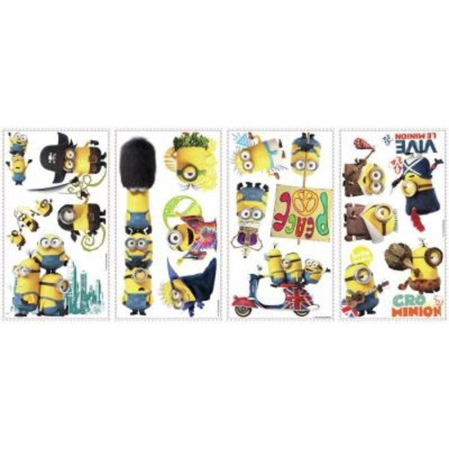 RoomMates 5 in. x 11.5 in. Minions the Movie 16-Piece Peel and Stick Wall Decal