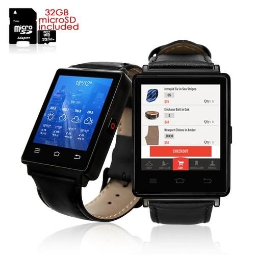 Indigi Professional 3G SmartWatch Phone (GSM unlocked) Android 5.1 WiFi + GPS + Heart Rate Sensor + Bluetooth Bundle